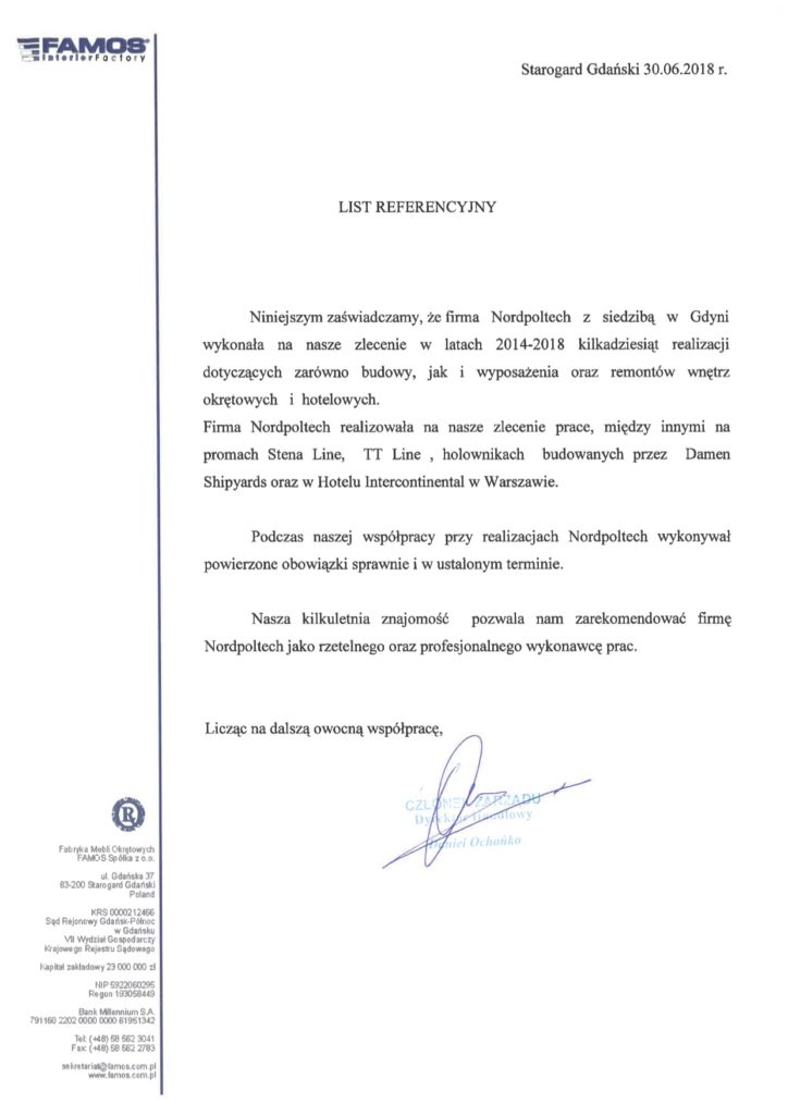 Referencje od Fabryka Mebli Okrętowych FAMOS Sp. z o.o.