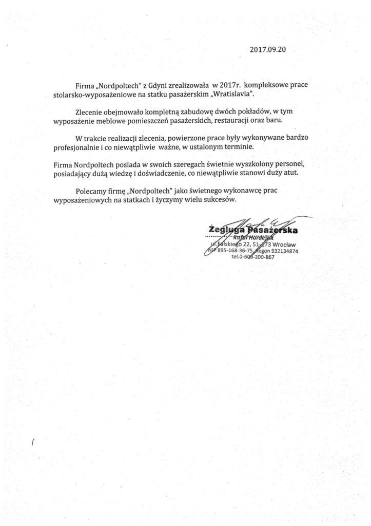 zegluga pasazerska - reference letter